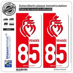 2 Autocollants plaque immatriculation Auto 85 Vendée - Collector