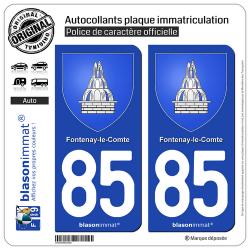 2 Autocollants plaque immatriculation Auto 85 Fontenay-le-Comte - Armoiries