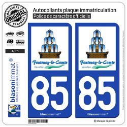 2 Autocollants plaque immatriculation Auto 85 Fontenay-le-Comte - Ville
