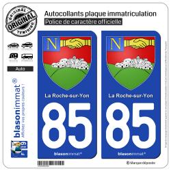 2 Autocollants plaque immatriculation Auto 85 La Roche-sur-Yon - Armoiries