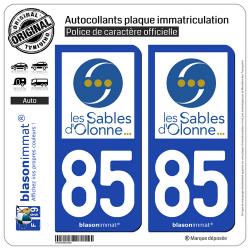 2 Autocollants plaque immatriculation Auto 85 Les Sables d'Olonne - Ville