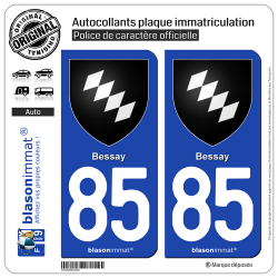 2 Autocollants plaque immatriculation Auto 85 Bessay - Armoiries