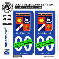 2 Autocollants plaque immatriculation Auto : Algérie Française - Armoiries