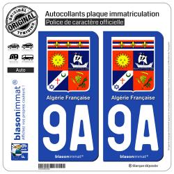 2 Autocollants plaque immatriculation Auto 9A Algérie Française - Armoiries