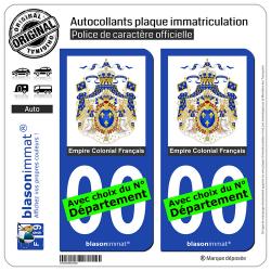 2 Autocollants plaque immatriculation Auto : Ancienne Colonie Française - Armoiries