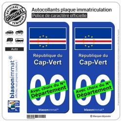 2 Autocollants plaque immatriculation Auto : Cap-Vert - Drapeau
