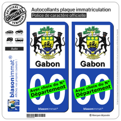 2 Autocollants plaque immatriculation Auto : Gabon - Armoiries