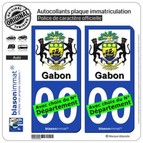 2 Autocollants plaque immatriculation Auto : Gabon - Armoiries