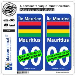2 Autocollants plaque immatriculation Auto : Ile Maurice - Drapeau