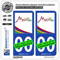 2 Autocollants plaque immatriculation Auto : Ile Maurice - Mauritius