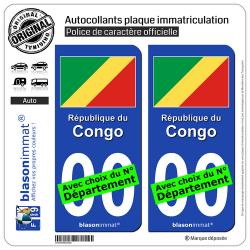 2 Autocollants plaque immatriculation Auto : Congo - Drapeau