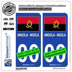 2 Autocollants plaque immatriculation Auto : Angola - Drapeau