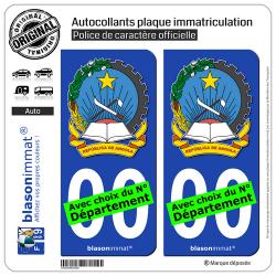 2 Autocollants plaque immatriculation Auto : Angola - Armoiries