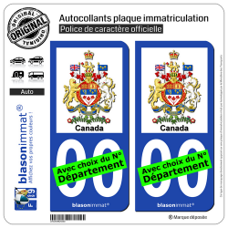 2 Stickers autocollant plaque immatriculation auto : Canada - Armoiries
