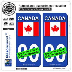 2 Autocollants plaque immatriculation Auto : Canada - Drapeau