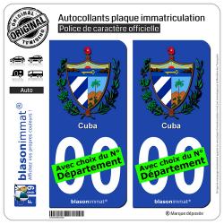 2 Autocollants plaque immatriculation Auto : Cuba - Armoiries