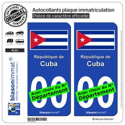2 Autocollants plaque immatriculation Auto : Cuba - Drapeau