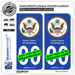 2 Autocollants plaque immatriculation Auto : États-Unis - Sceau