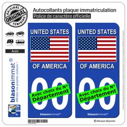 2 Autocollants plaque immatriculation Auto : États-Unis - Drapeau