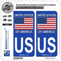 2 Autocollants plaque immatriculation Auto US États-Unis - Drapeau