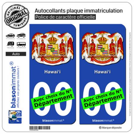 2 Autocollants plaque immatriculation Auto : Hawaï - Armoiries