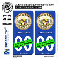 2 Autocollants plaque immatriculation Auto : Hawaï - Sceau