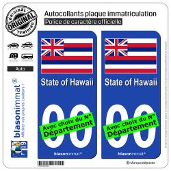 2 Autocollants plaque immatriculation Auto : Hawaï - Drapeau