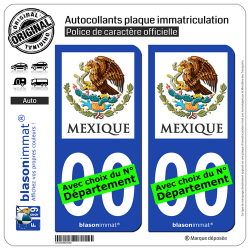 2 Autocollants plaque immatriculation Auto : Mexique - Armoiries
