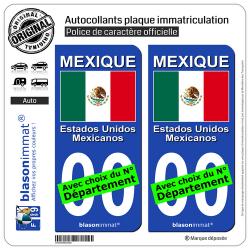 2 Autocollants plaque immatriculation Auto : Mexique - Drapeau