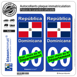 2 Autocollants plaque immatriculation Auto : République Dominicaine - Drapeau