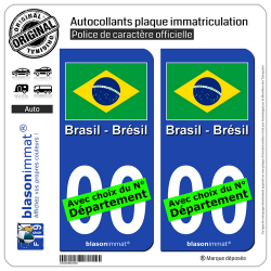 2 Autocollants plaque immatriculation Auto : Brésil - Drapeau