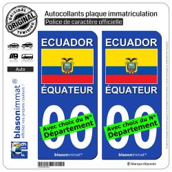 2 Autocollants plaque immatriculation Auto : Équateur - Drapeau