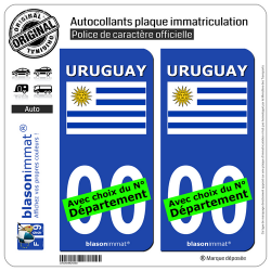 2 Autocollants plaque immatriculation Auto : Uruguay - Drapeau