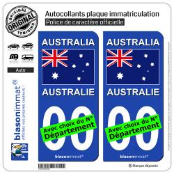 2 Autocollants plaque immatriculation Auto : Australie - Drapeau