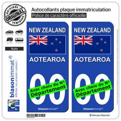 2 Autocollants plaque immatriculation Auto : Nouvelle-Zélande - Drapeau
