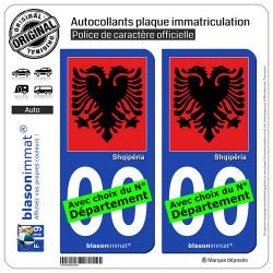 2 Autocollants plaque immatriculation Auto : Albanie - Aigle Albanais