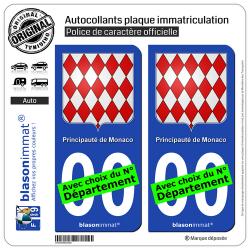 2 Autocollants plaque immatriculation Auto : Monaco - Blason