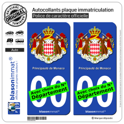 2 Autocollants plaque immatriculation Auto : Monaco - Armoiries
