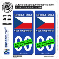 2 Autocollants plaque immatriculation Auto : Tchéquie - Drapeau