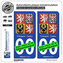 2 Autocollants plaque immatriculation Auto : Tchéquie - Armoiries