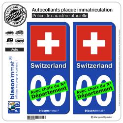 2 Autocollants plaque immatriculation Auto : Suisse - Drapeau
