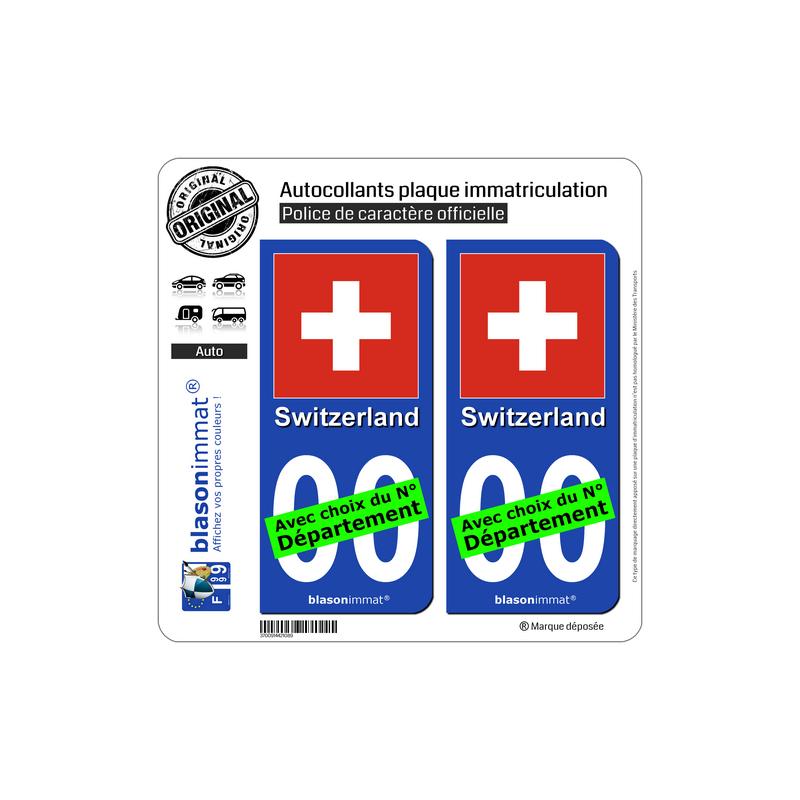 autocollant plaque immatriculation suisse drapeau. Black Bedroom Furniture Sets. Home Design Ideas