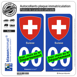 2 Autocollants plaque immatriculation Auto : Suisse - Armoiries