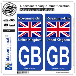 2 Autocollants plaque immatriculation Auto : GB Royaume-Uni - Drapeau