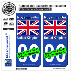 2 Autocollants plaque immatriculation Auto : Royaume-Uni - Drapeau