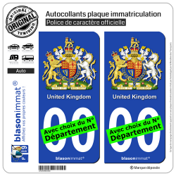 2 Autocollants plaque immatriculation Auto : Royaume-Uni - Armoiries