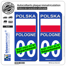 2 Autocollants plaque immatriculation Auto : Pologne - Drapeau