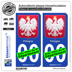 2 Autocollants plaque immatriculation Auto : Pologne - Armoiries