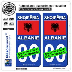 2 Autocollants plaque immatriculation Auto : Albanie - Drapeau