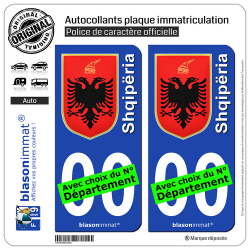 2 Autocollants plaque immatriculation Auto : Albanie - Armoiries